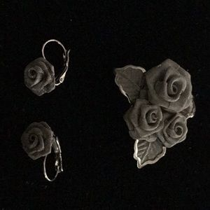 Pewter Mesh Pin and Earrings